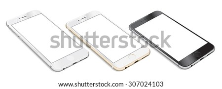 Set of Smartphones with blank screen lying on flat surface in three colors white, gold and black, isolated on white background - high detailed realistic eps 10 vector illustration