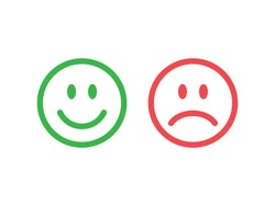 Set of smile emoticons isolated on white background. Line icons emoticons. Happy and unhappy smileys. Emoji set. Green and red color. Vector illustration