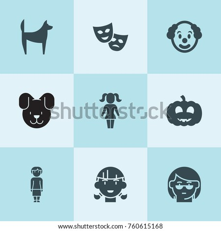 set of 9 smile filled icons