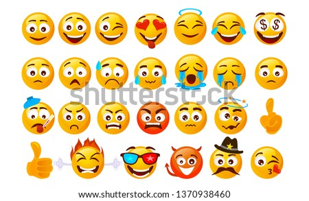 Set of smiley emoticons. Vector faces with different emotions isolated on white background. Vector smileys face Сток-фото ©