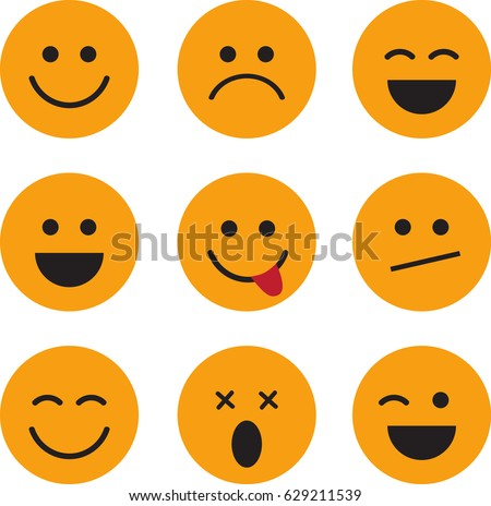 Set of Smiley Face Icons. Emotion Icons.