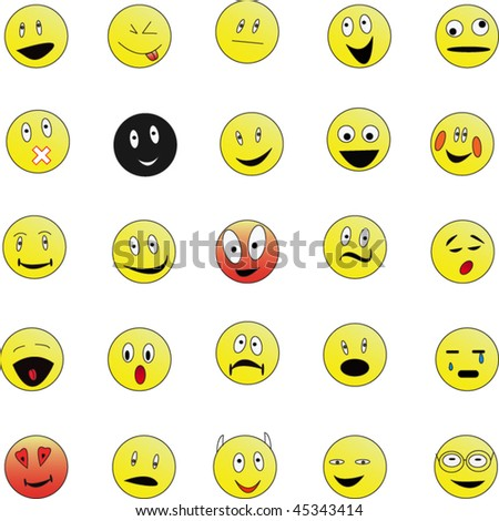 Set of 25 smiley faces: in various facial expressions. Easy to edit and transform.