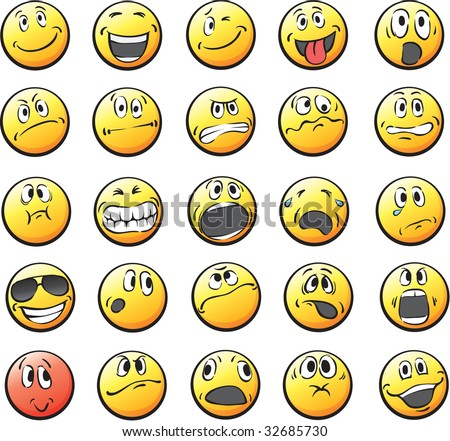 cartoon pictures of smiley faces. Set of 25 smiley faces: in