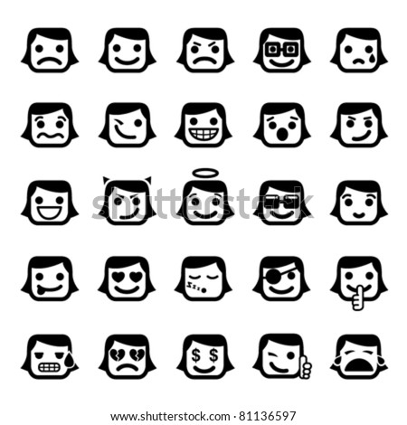 Set of 25 smiley faces women characters
