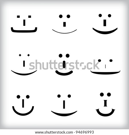 Set of smileys - stock vector