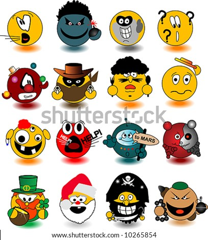 Set of smileys. Vector illustration. See other set in my portfolio.