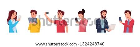 Set of smiling men and women taking selfie chatting talking using modern gadgets via internet social network vector illustration. Online communication concept. Isolated on white