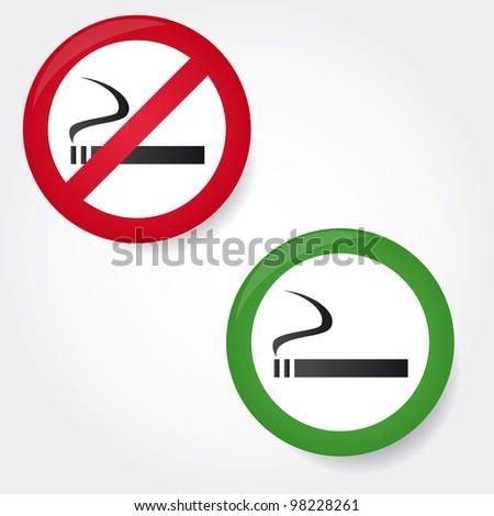set of smoking and no smoking vector signs