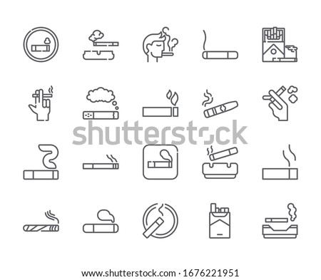 Set of smoking area Related Vector Line Icons. Includes such Icons as cigarette, tobacco, ashtray, smoke, nicotine and more. - vector