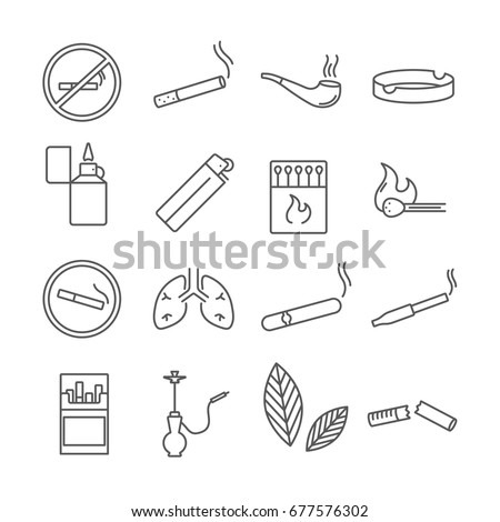 Set of smoking Related Vector Line Icons. Includes such icons as cigarette, cigar, lighter, smoke, matches, tobacco, hookah, ashtray