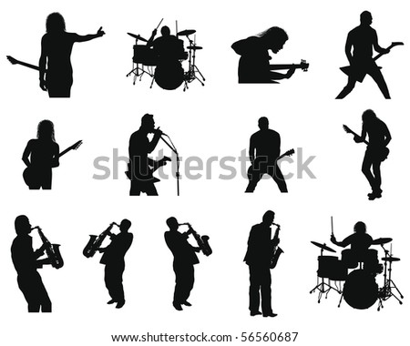 Set of Smooth Rock and Jazz People  Silhouettes in Different Poses. Singing, With Guitar, On a Drums, With Saxophone, With Microphone. High Detail Vector Illustration.