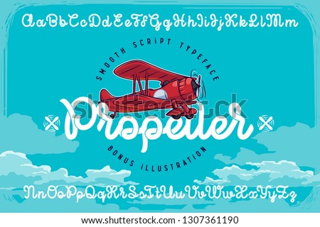 """Set of smooth script font named """"Propeller"""" with red vector airplane illustration and blue clouds background"""