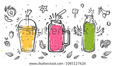 Set of smoothies in different cups. Superfoods and health or detox diet food concept in sketch style.