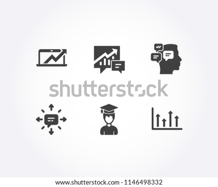 Set of Sms, Messages and Accounting icons. Sales diagram, Student and Upper arrows signs. Conversation, Notifications, Supply and demand. Sale growth chart, Graduation cap, Growth infochart. Vector