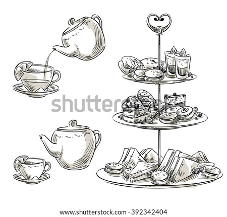 Set of snacks on a tray. Teatime. Vector sketch.  Foto stock ©