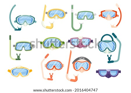 Set of Snorkeling Masks, Underwater Glasses and Goggles for Swimming Front View, Scuba Diving Equipment of Different Design. Mouthpiece Tube Isolated on White Background. Cartoon Vector Icons Сток-фото ©