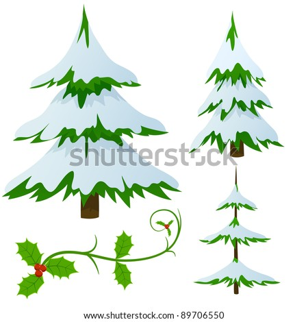 set of snow covered fir trees