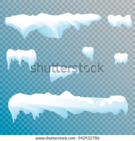 set of snow icicles isolated on