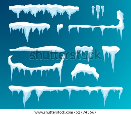 Set of snow icicles, snow cap isolated on transparent background. Snowy elements on winter background. Vector template in cartoon style for your design.