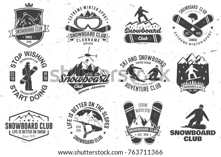 set of snowboard club insignia