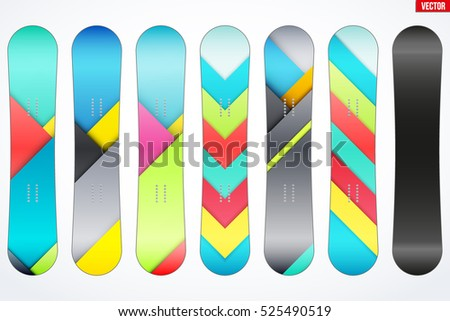 set of snowboard with different