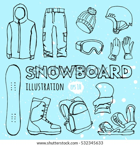 Set of snowboarding elements line icons. Winter sport equipment and gear vector. active lifestyle collection. Snowboard travel set.
