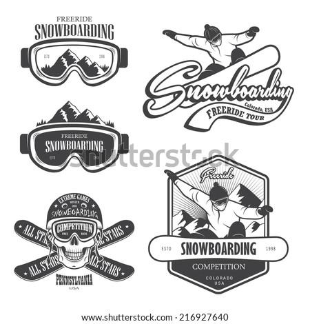 set of snowboarding emblems