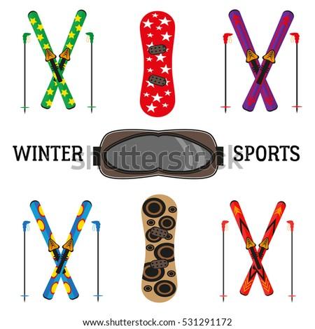 set of snowboarding extreme