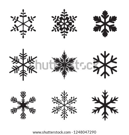 Set of Snowflake icon. Vector illustration.