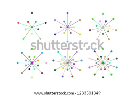 Set of snowflakes of blue lines and circles. Five, six, seven, eight, nine, ten pointed snowflakes isolated on white. Geometric figures. Design elements. EPS 10 vector. #1233501349