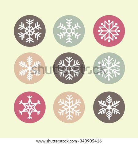 set of snowflakes pastel color