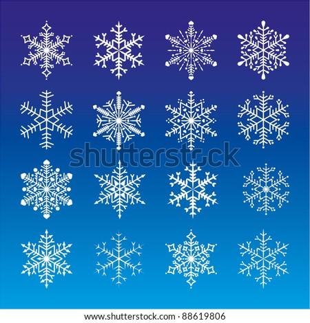 set of snowflakes/snow/stars