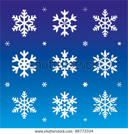 set of snowflakes/snow/stars