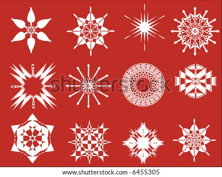 set of 12 snowflakes,vector