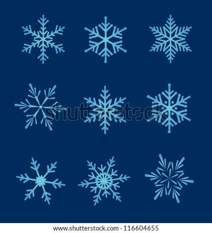 Set of snowflakes. Vector snowflakes set for Christmas design.