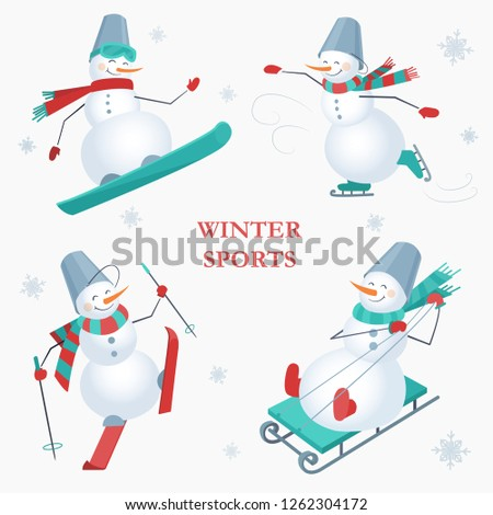 set of snowmen on a white