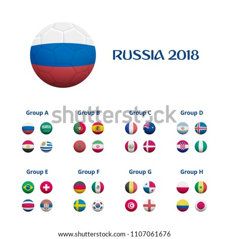 Set of soccer balls textured with national flags of all 32 participating countries. World soccer tournament in Russia 2018 Groups illustration. Illustration with footballs. Association football balls.