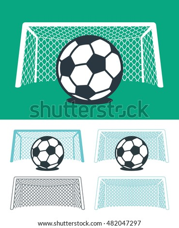 Set of soccer balls with nets and goal posts in black , green and white color hues in three different combinations, vector sporting illustration for championship league or World Cup themes