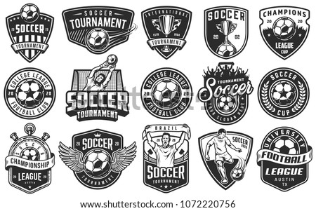 Set of soccer emblems in monochrome style. Vector illustration