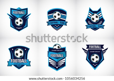 Set of Soccer Football Badge blue Logo Design Templates Sport Team Identity Vector Illustrations isolated on white Background