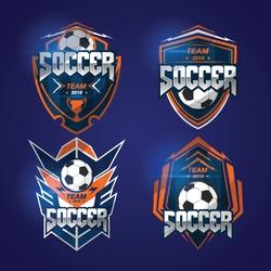 Set of Soccer Football Badge Blue orange Logo Design Templates Sport Team Identity Vector Illustrations isolated on white Background
