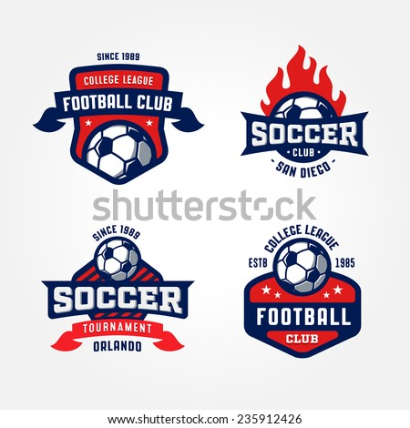set of soccer football badge