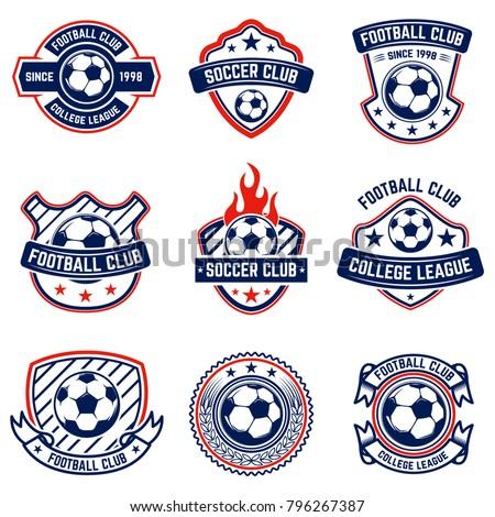 set of soccer  football emblems