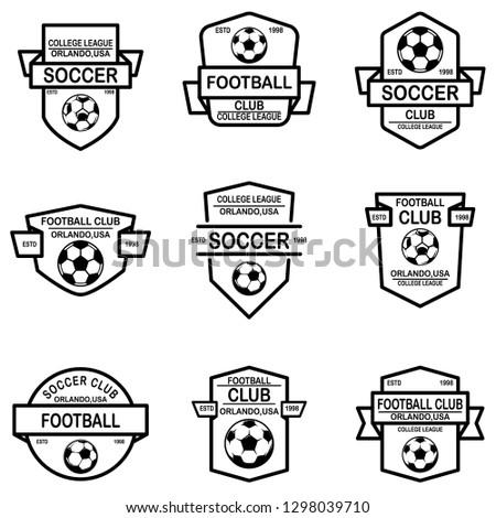 Set of soccer, football emblems. Design element for logo, label, sign, poster, t shirt. Vector illustration