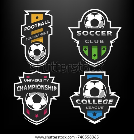 set of soccer football logo