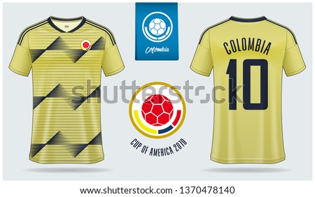 Set of soccer jersey or football kit mockup template design for Colombia national football team. Front and back view soccer uniform. Yellow Football shirt mock up. Vector Illustration