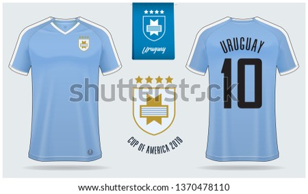 b835f655a Set of soccer jersey or football kit mockup template design for Uruguay  national football team.