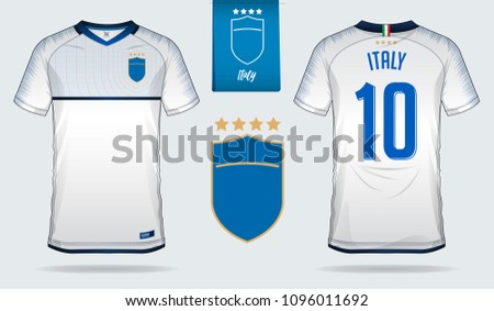 05bf0c619c7 Set of soccer jersey or football kit template design for Italy national  football team. Front