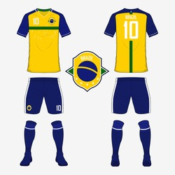 Set of soccer jersey or football kit template for Brazil national football team. Front and back view soccer uniform. Sport shirt mock up. Vector Illustration