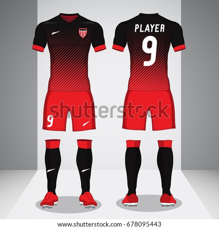 Set of soccer kit or football jersey template for football club. Football apparel mock up.